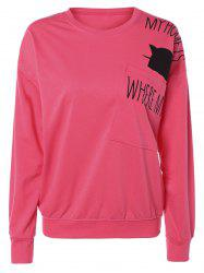 Pocket Kitten Letter Long Sleeve Sweatshirt -