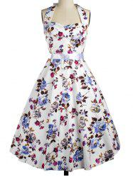 Halter Floral Fit and Flare Cocktail Dress -
