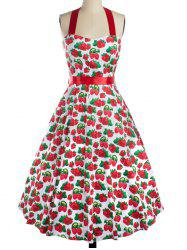 Strawberry Print Bowknot Halter Cocktail Dress - RED XL