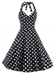 Polka Dot Halter Pin Up Flare Sleeveless Dress - BLACK