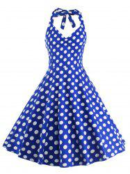 Vintage Halter Neck Polka Dot Dress For Women - Bleu