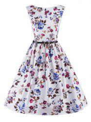 Graceful Sleeveless Floral Vintage Prom Flare Tea Dress For Women