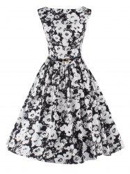 Sleeveless Floral Fit and Flare Cocktail Dress -