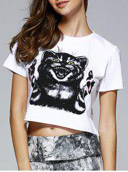 Fashionable Round Neck Short Sleeve Animal Motifs Crop Top -