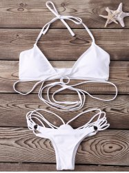 Sexy Halter   Solid Color Lace-Up Bikini Set For Women - WHITE M