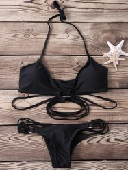 Sexy Halter   Solid Color Lace-Up Bikini Set For Women -