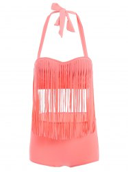Halter High Waisted Fringe Tankini - WATERMELON RED