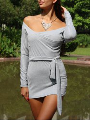 Off The Shoulder Long Sleeve Plain Bodycon Bandage Dress