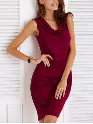 Chic Cowl Neck Sleeveless Pure Color Slimming Ruched Women's Dress