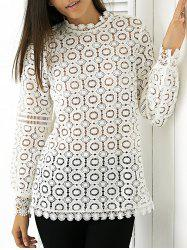 Elegant Round Neck Long Sleeve Lace Blouse