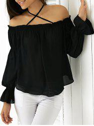 Elegant Halter Flounced Long Sleeve Blouse -