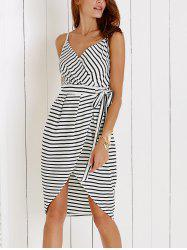 Chic Spaghetti Strap Striped Self-Tie Dovetail Dress For Women