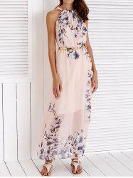 Chic Round Collar Sleeveless Floral Print Women's Maxi Dress - PINK