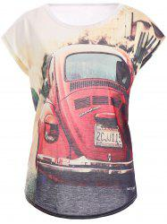 Casual Style Short Sleeve Car Pattern Round Neck Women's T-Shirt -