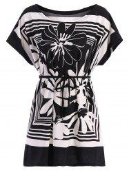 Casual Street Style Women's Floral Printed Loose-Fitting Belted T-Shirt -