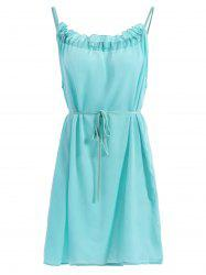 Sweet Girl Style Ruffle Collar Solid Color Belted Dress For Women -