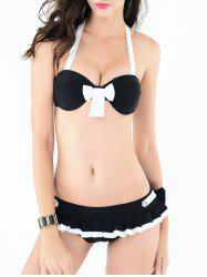 Halter Bowknot Design Hit Color Bikini