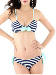 Striped Bowknot Design Padded Bikini - STRIPE S