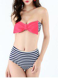 Striped Strapless Push Up Bandeau Bikini -