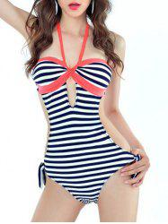 Halter Cut Out Striped One Piece Swimwear
