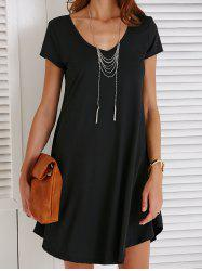 V-Neck Loose Casual Dress Outfit With Sleeves - BLACK