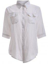 OL Thin-Stripe Pocket Design Shirt -