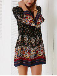 Ethnic Style Bell Sleeve Tribal Print Women's Shift Dress - BLACK
