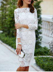 Women 's  Cut Lace Out Over Hip 3/4 Sleeve Dress Pure Color - Blanc