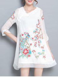 Skew Neck Embroidery Plate Button Dress