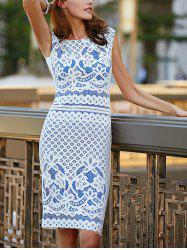 Chic Sleeveless Cut Out Lace Women's Dress - BLUE
