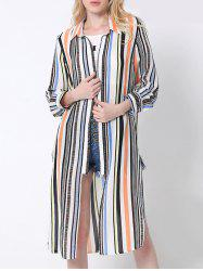 Flowing Colorful Striped High Slit Shirt -