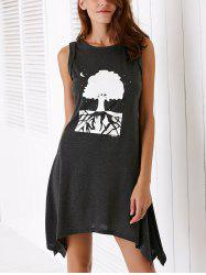 Casual Round Neck Printed Asymmetrical Tank Dress For Women -