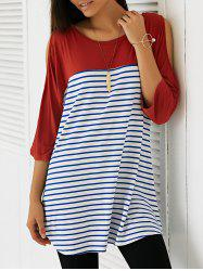 Casual Cold Shoulder Striped Long Blouse - BRICK-RED