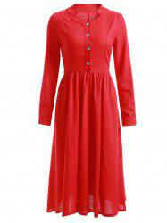 Pure Red Buttons Design Long Sleeve Dress -
