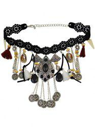 Coin Fringe Statement Choker Necklace