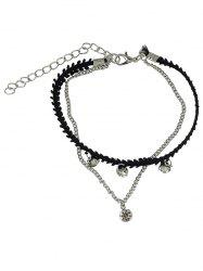 Chic strass Layered Chain Anklet - Argent