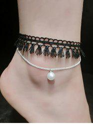 Handmade Faux Pearl Tassel Layered Anklet -