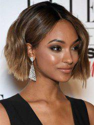 Elegant Black Ombre Flaxen Capless Fluffy Wave Short Synthetic Wig For Women -