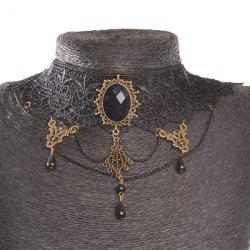 Oval Water Drop Openwork Lace Statement Choker - BLACK