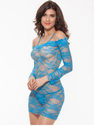 Alluring Women's Off-The-Shoulder Lace Babydoll - LIGHT BLUE