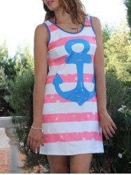 Leisure Scoop Collar Sleeveless Striped Anchor Print Women's Sundress -