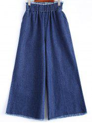 Frayed Wide Leg Scrub Jeans - DENIM BLUE