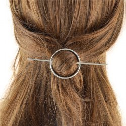 Retro Style Gold Plated Cut Out Big Circle Hairpin For Women - SILVER