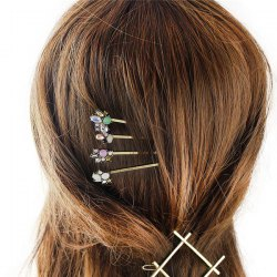 Charming Fuax Gem Rhinestone Geometric Barrette Set For Women - PLATINUM