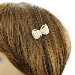Elegant Gold Plated Faux Pearl Rhinestone Bowknot Hair Comb For Women