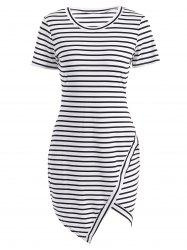 Striped Asymmetric Short Sleeve Dress - WHITE
