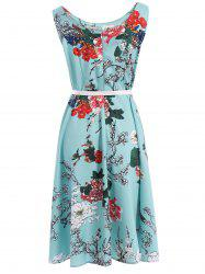Vintage Round Neck Sleeveless Floral Print Belted A-Line Dress For Women -