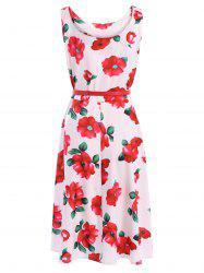 Vintage Scoop Neck Sleeveless Floral Print Belted Flare Dress For Women -