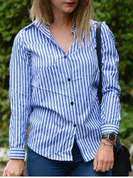 Casual Shirt Collar Striped Long Sleeve Blouse For Women -