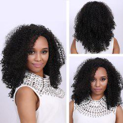 Medium Black Afro Curly Fashion Medium Synthetic Hair Wig For Women